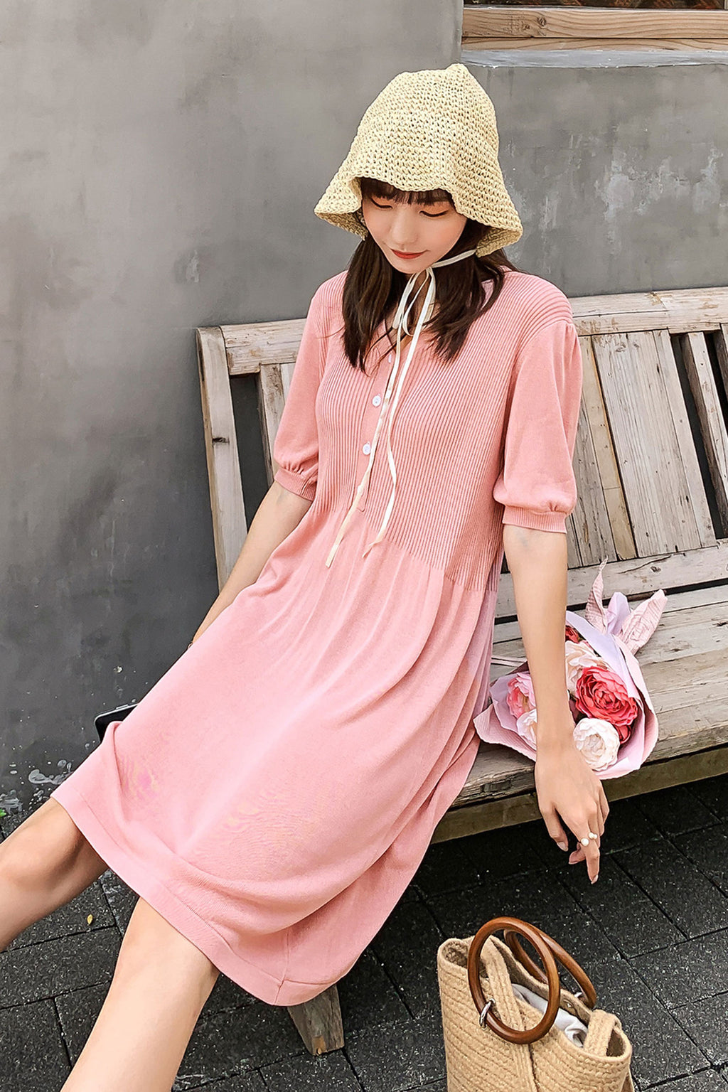 Be V-Neck Knit Buttoned Dress - 7GEGE