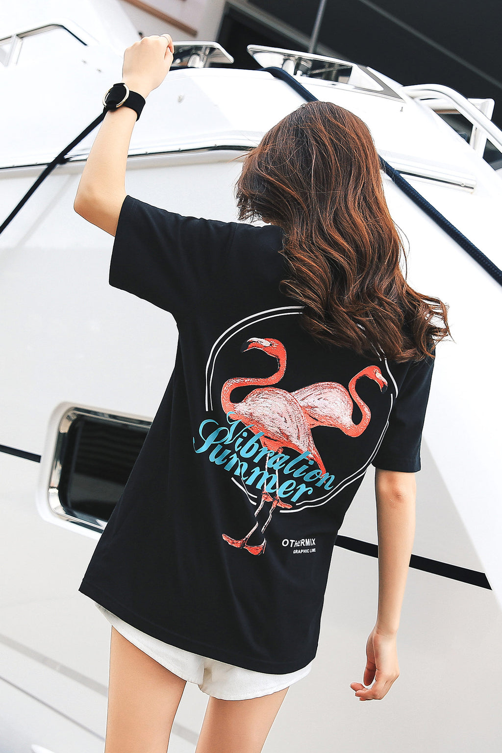 Flamingo Graphic Print Tee - 7GEGE