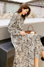 Large Wing Type Floral Print Waist Dress - 7GEGE