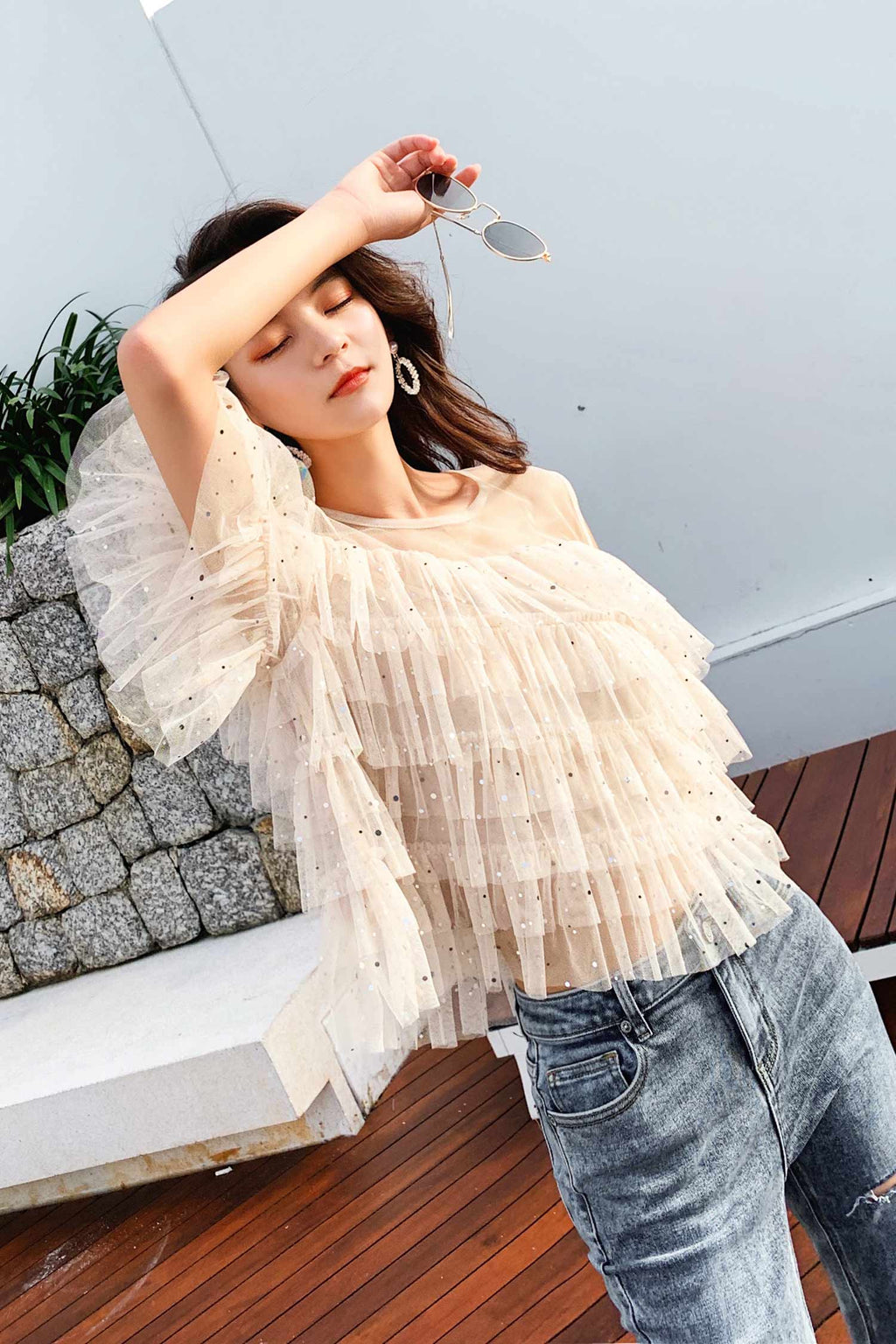 Mesh Short Sleeve Slim Shoulder Top - 7GEGE
