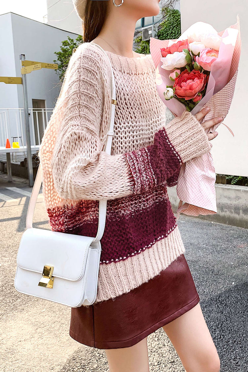 Pink Red Wine The Color Knit Sweater - 7GEGE