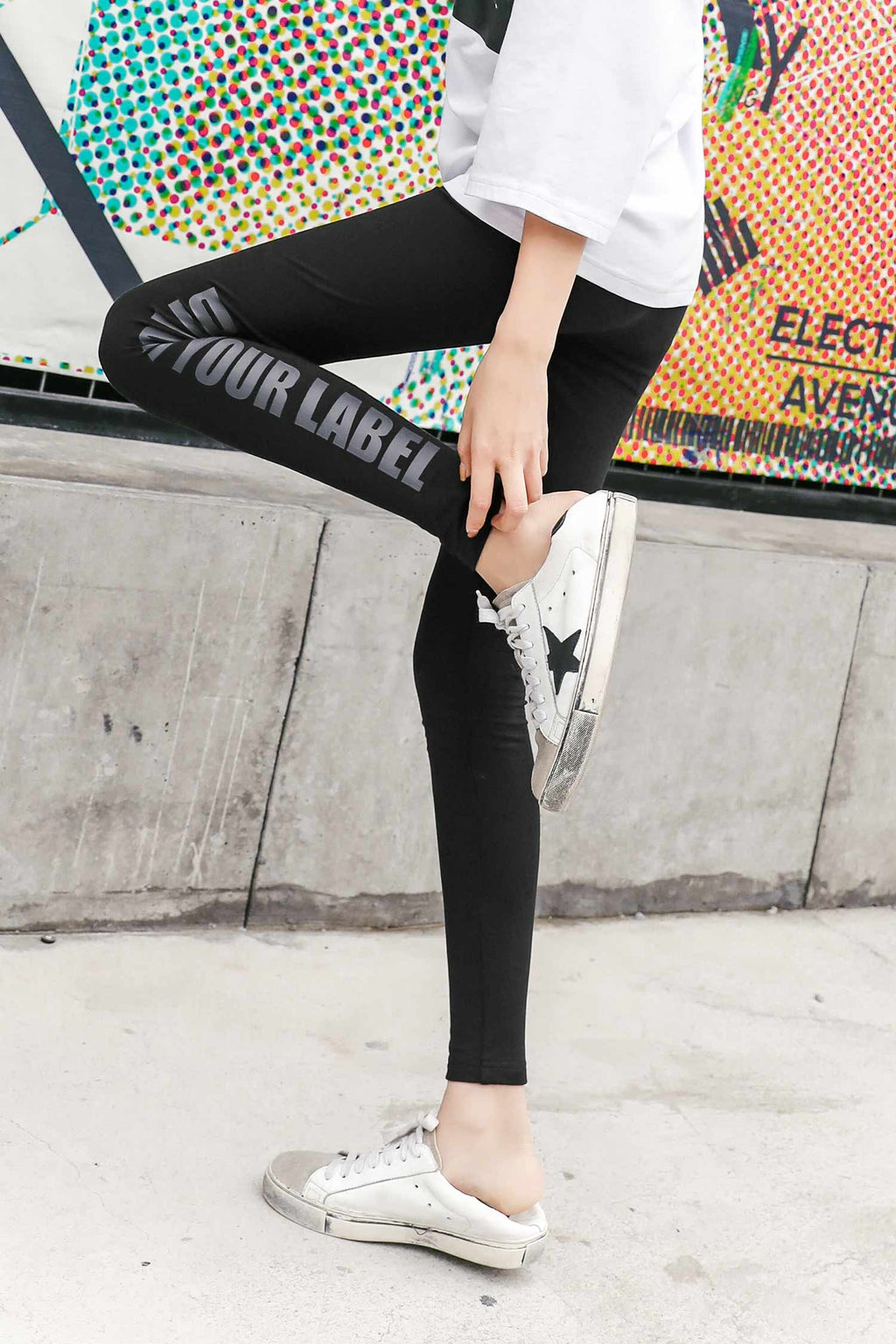 High Waist Slim Letters pant - 7GEGE