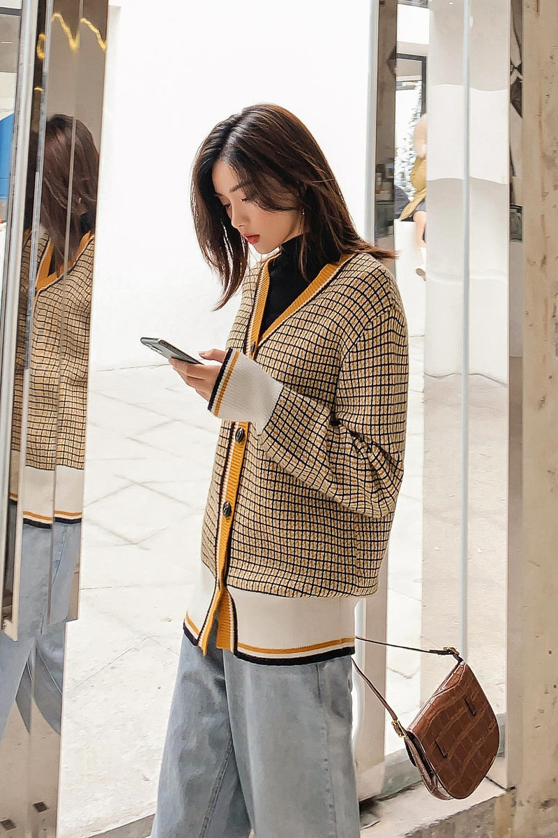 Yellow Plaid Sweater Coat - 7GEGE