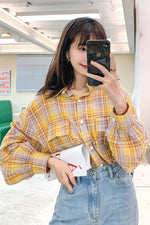 Yellow Plaid Pocket Shirt - 7GEGE
