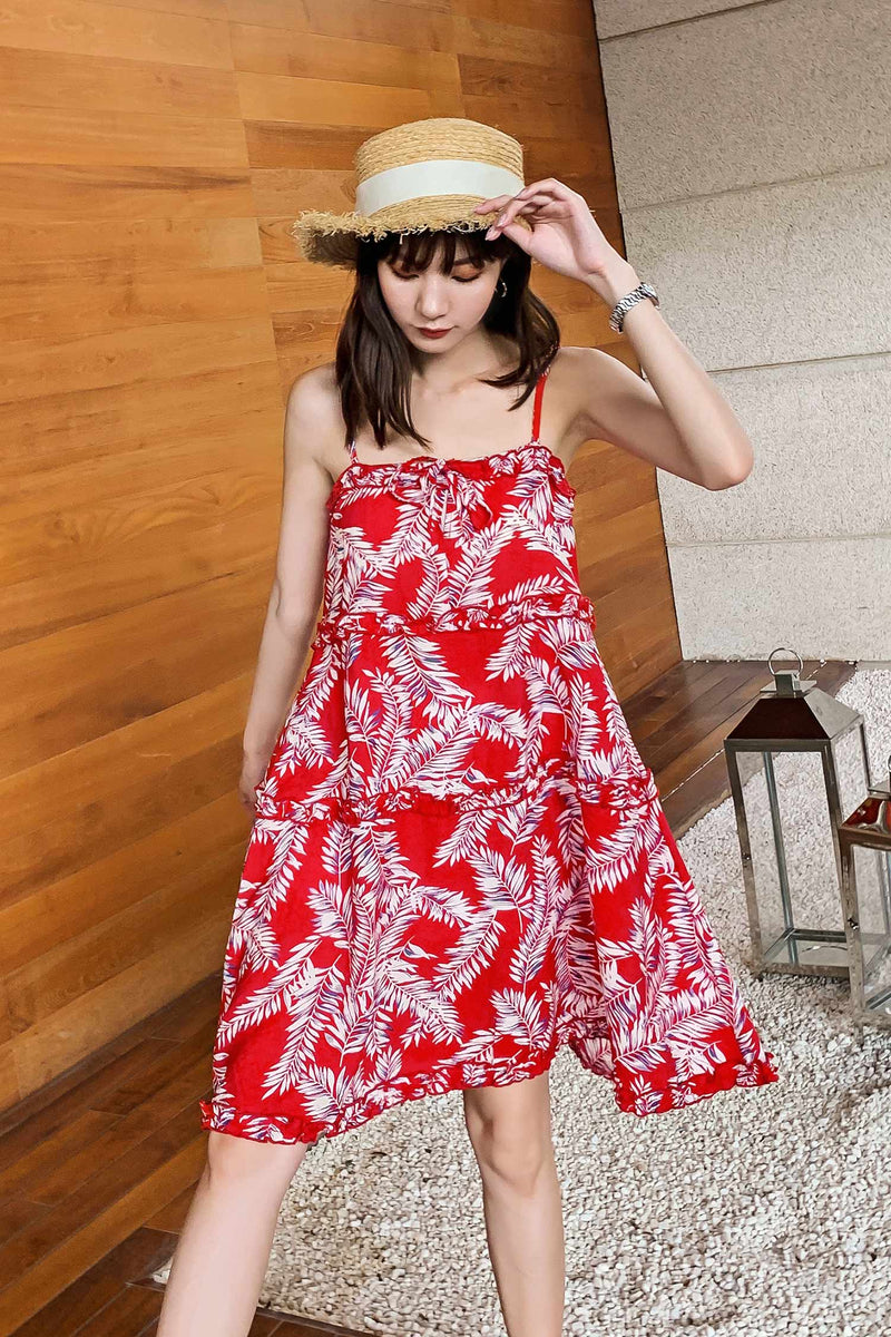 Red A-line Dress With Suspenders