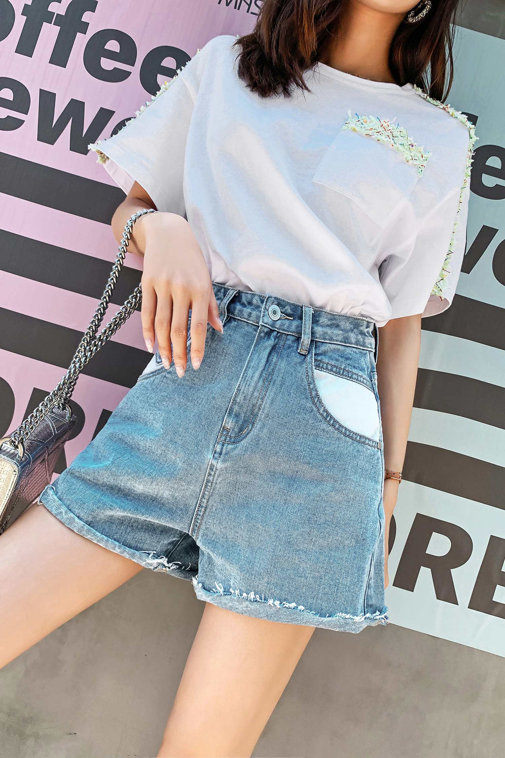 Straight Wide Leg Jean Short Pant - 7GEGE