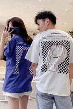 Blue and White Colors Lovers Trend T-shirt