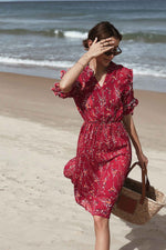 Flower Print Ruffle Hem Chiffon Dress