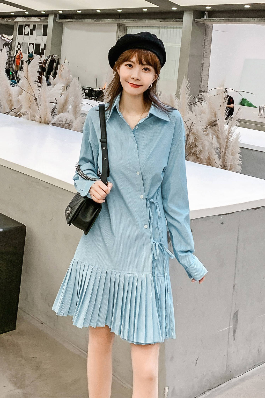 Spring Pleated Hem Long-Sleeved Shirt Dress - 7GEGE