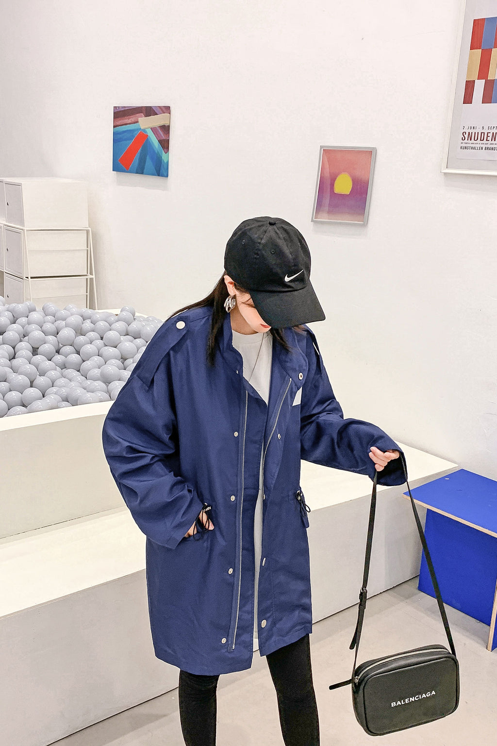 Spring Summer Zip drawstring Navy Coat Top - 7GEGE