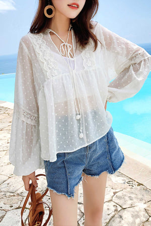 Binding Detail Lace Chiffon Top - 7GEGE