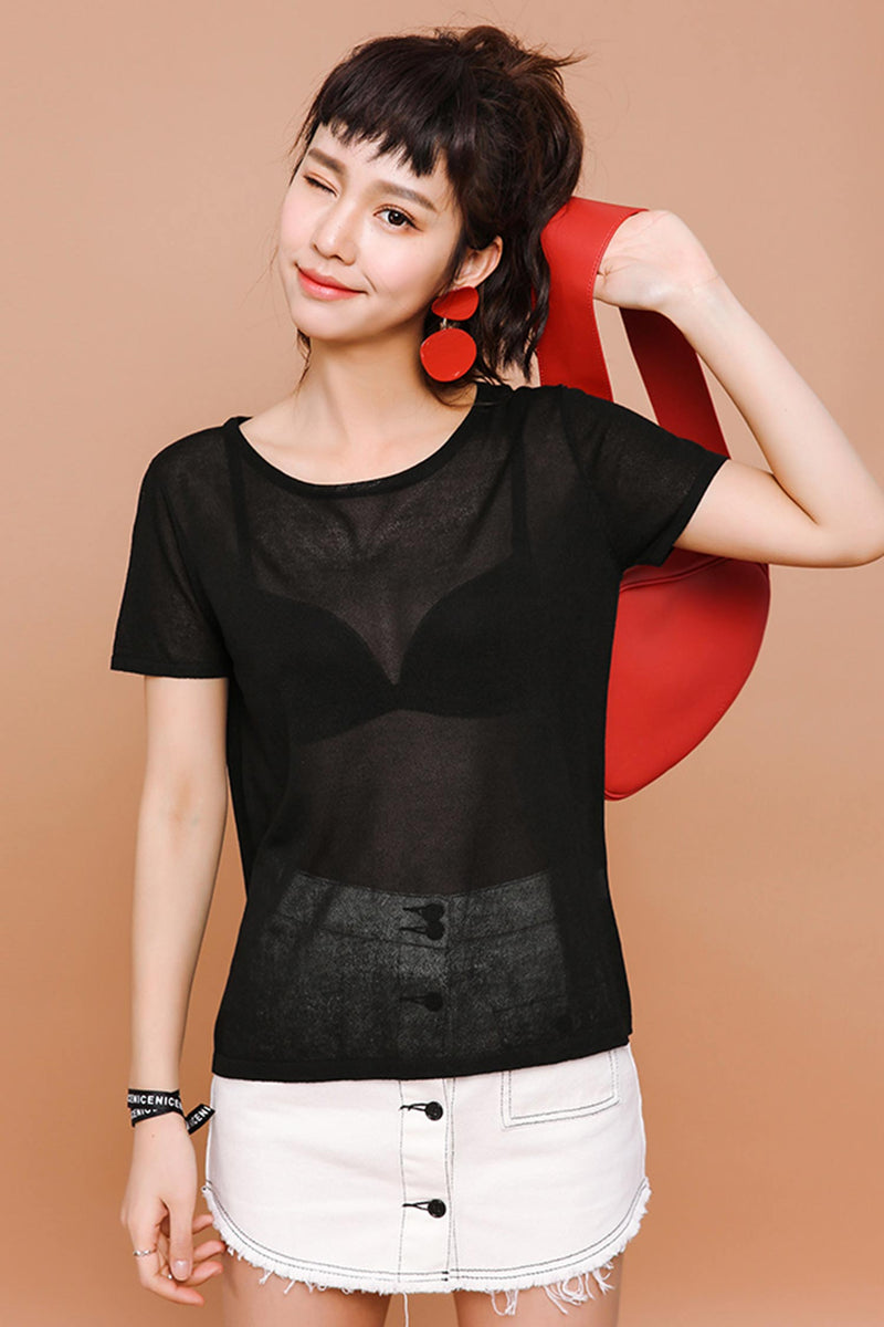 Sheer Short-sleeved Knitted Top