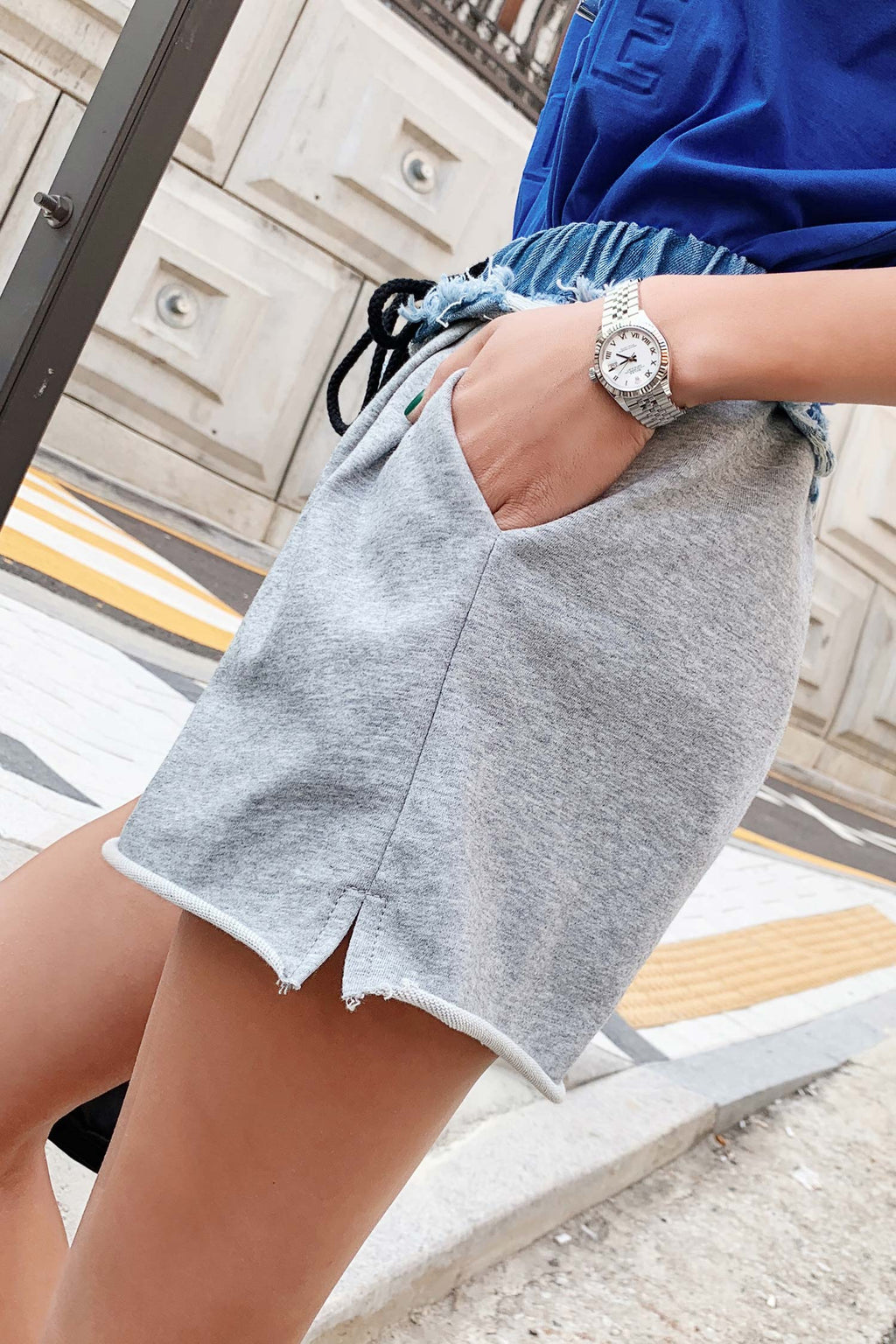 Straight High Waist Casual Wide Leg Short Pant - 7GEGE