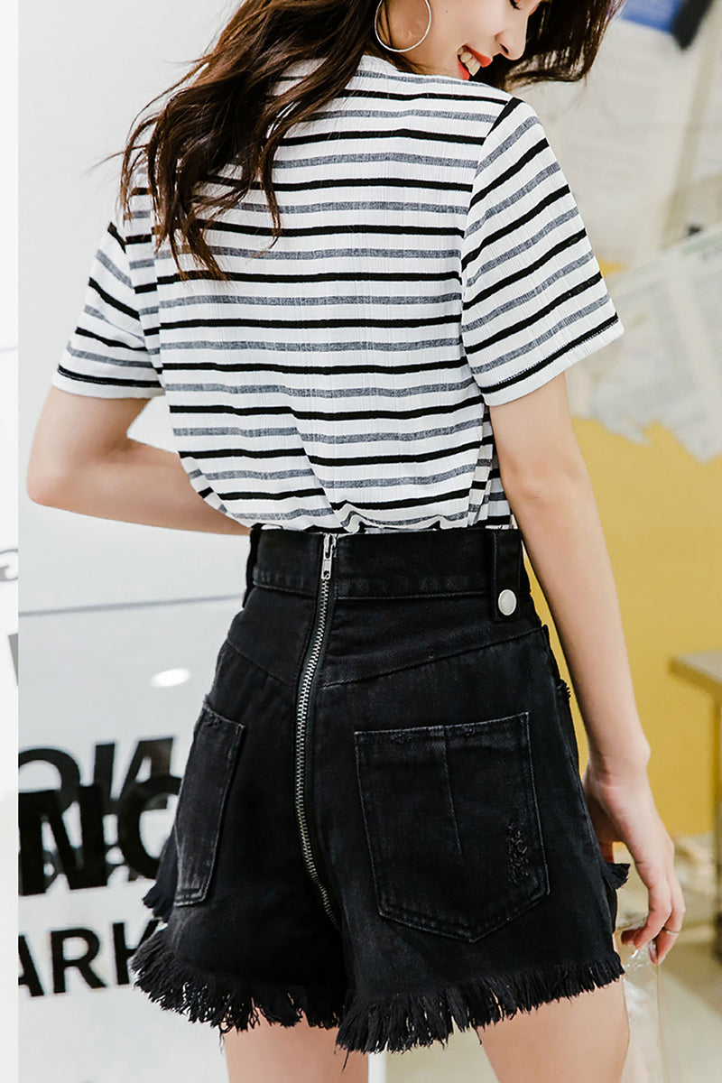Jean Wide Leg Short Pant Black - 7GEGE