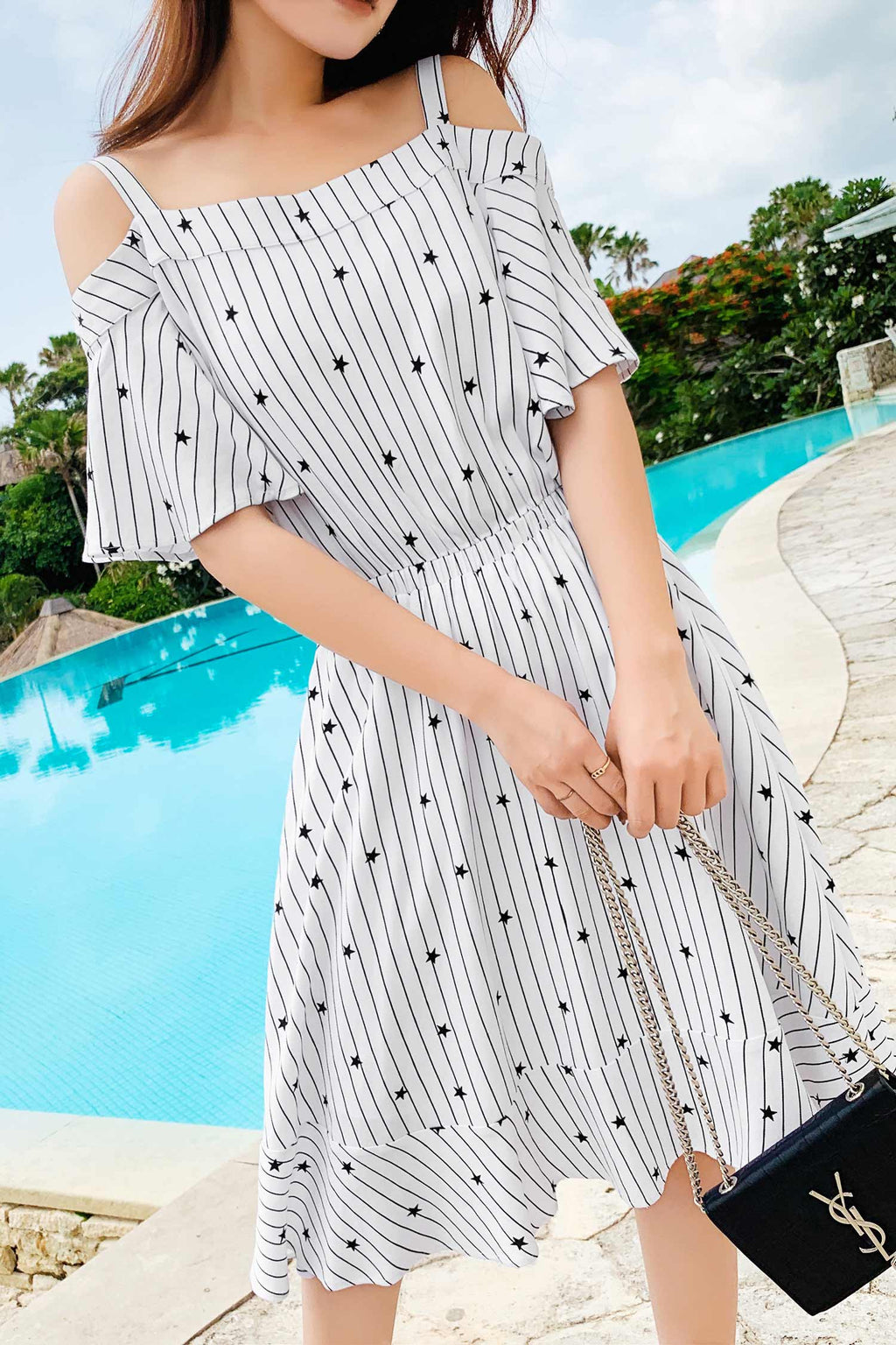 A-line short sleeve camisole dress