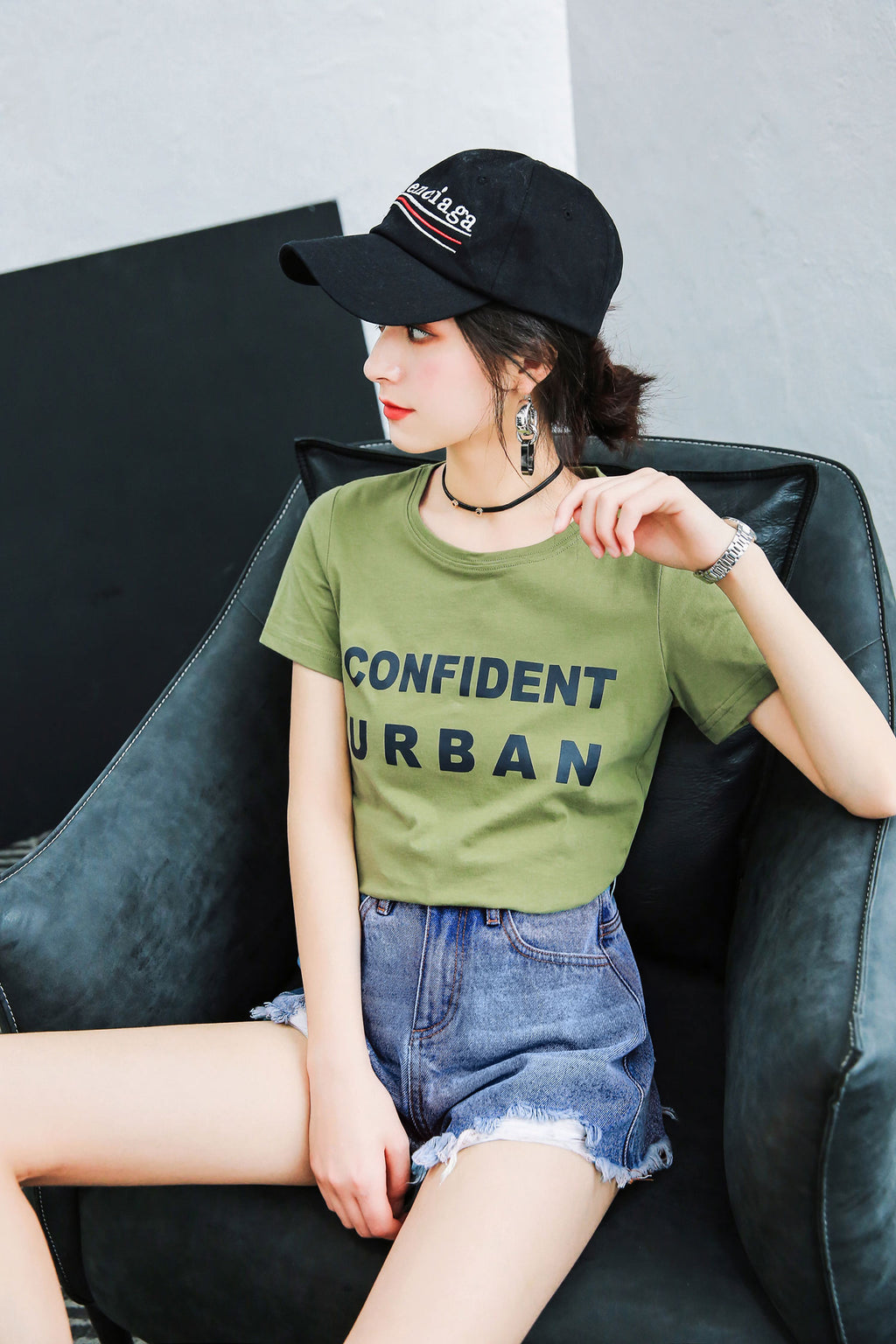 Army Green Letter Short Sleeve T-shirt