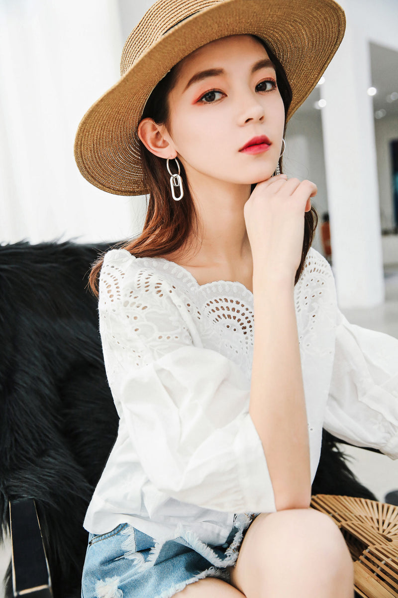 Embroidered Lantern Sleeve Lace Cutout Shirt - 7GEGE