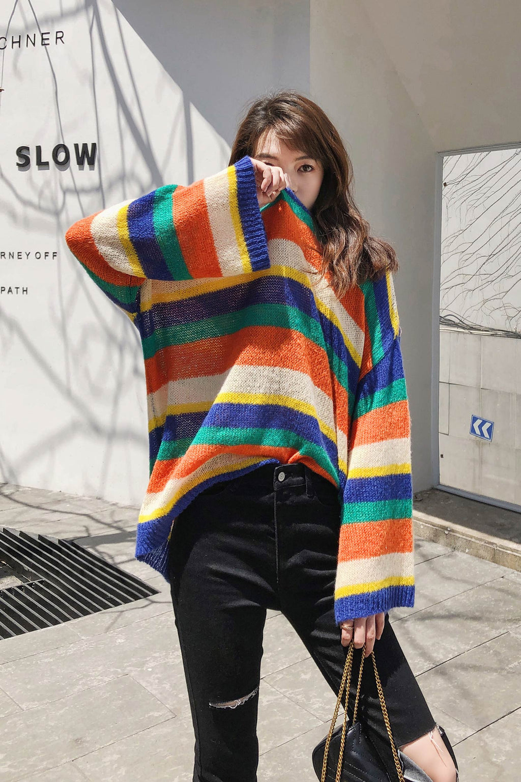 Multicolor Stripe Knit Sweater - 7GEGE