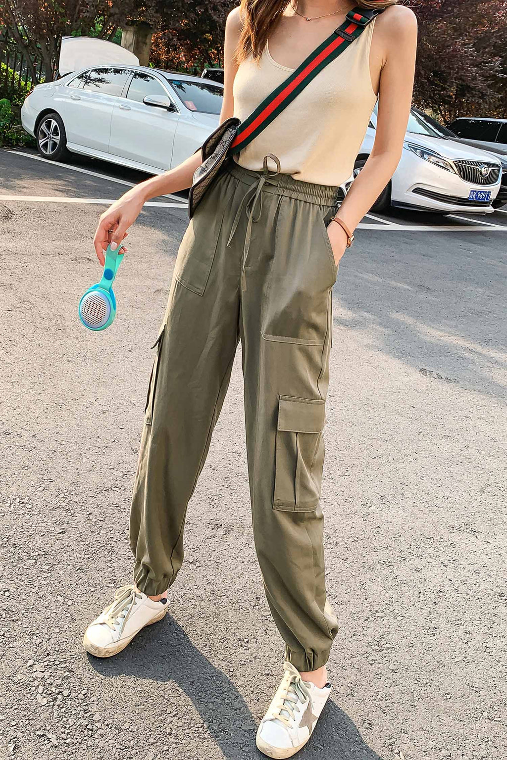 Webbing Belt Patch Pocket Pant - 7GEGE