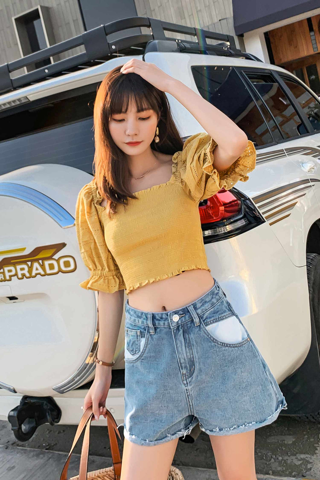 Lantern sleeve Off Shoulder Top Yellow - 7GEGE