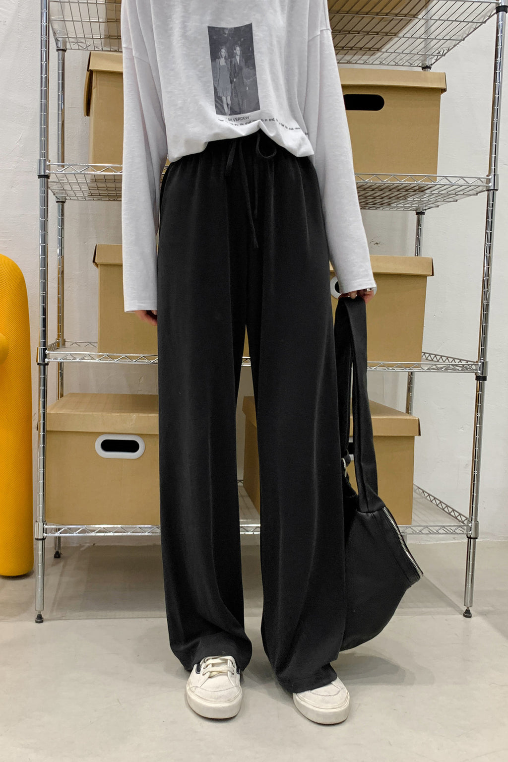 Webbing Belt Straight Wide Leg Pant - 7GEGE