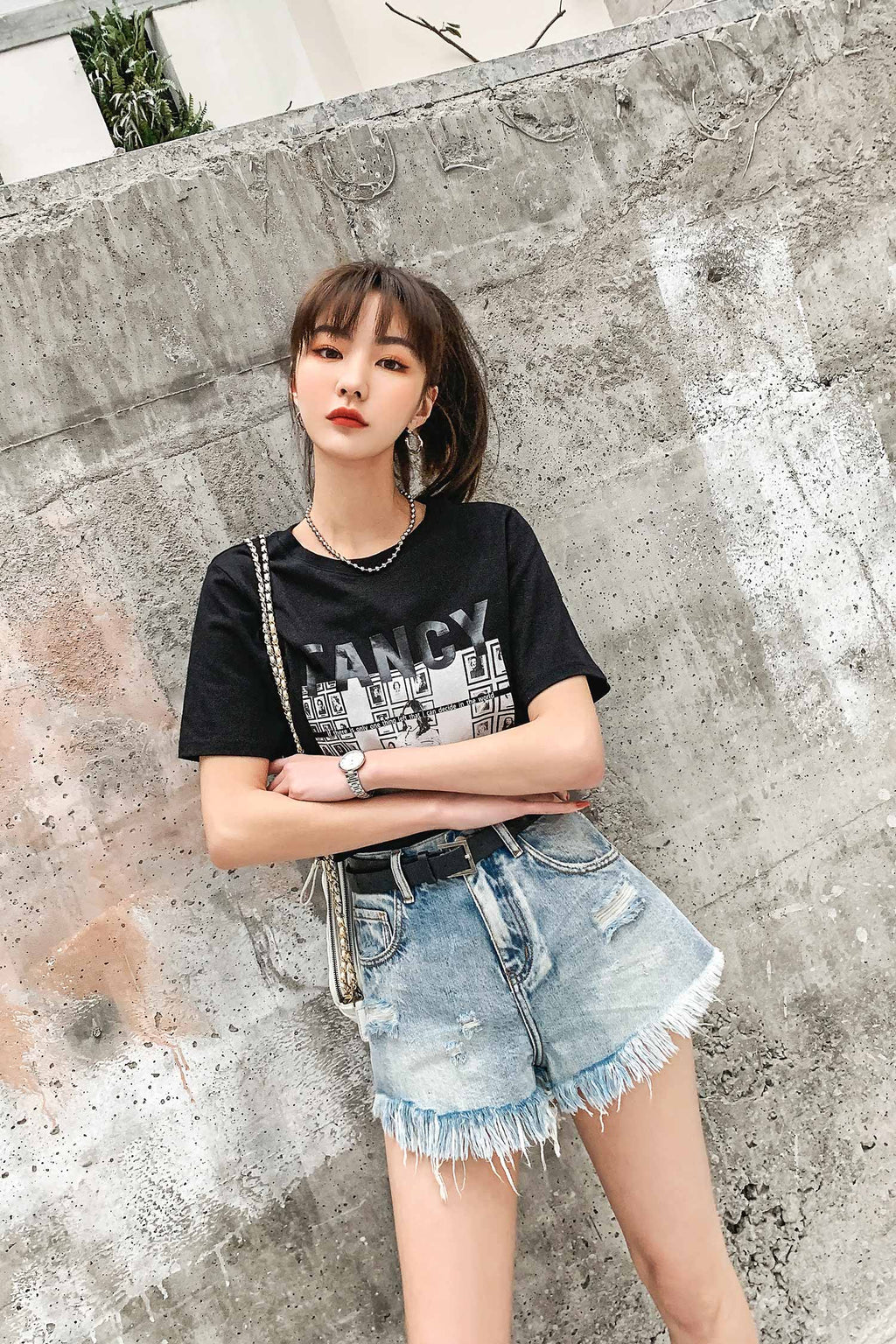 High-waist summer shorts loose straight jeans pant