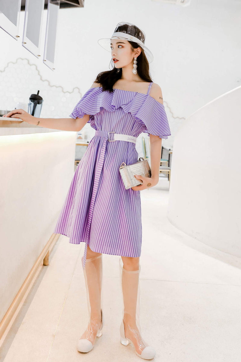 Over-The-Knee Temperament Open Shoulder Cchiffon Dress