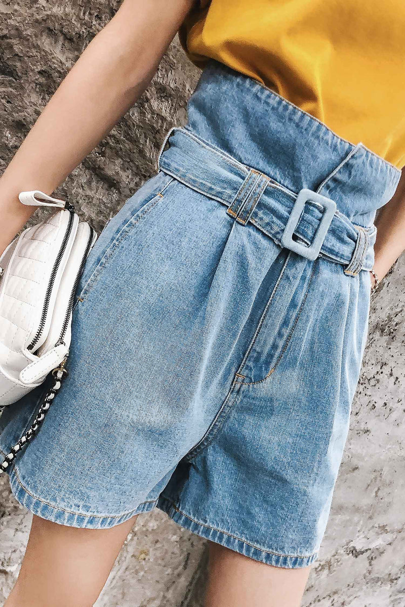 High-waist summer shorts loose straight wide-leg light-colored jeans pant