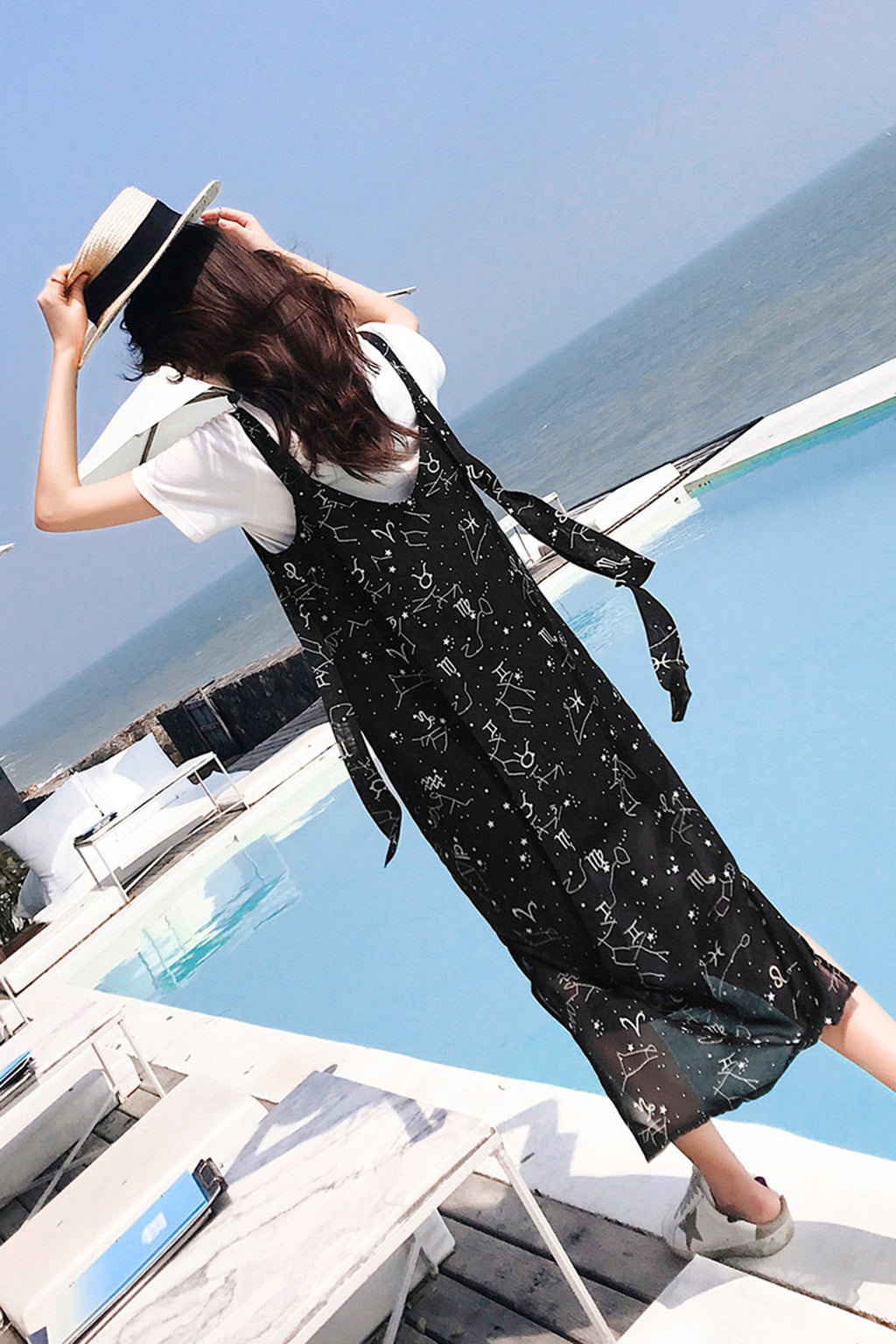 Non Sleeve Print Loose Chiffon Strap Dress - 7GEGE