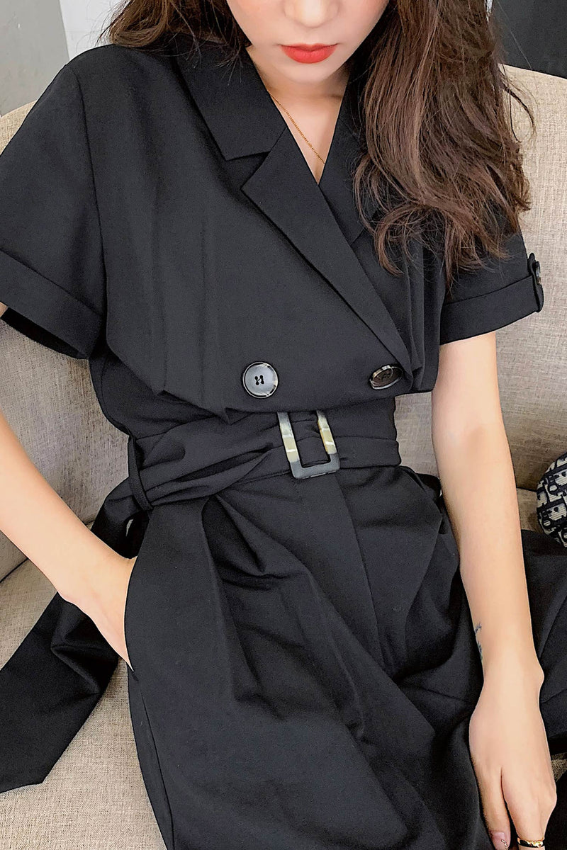 Wide Leg Jumpsuit Belt Long Pant - 7GEGE