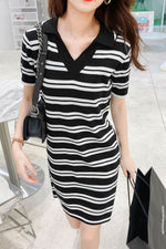 Striped V-neck Short-Sleeve Dress - 7GEGE