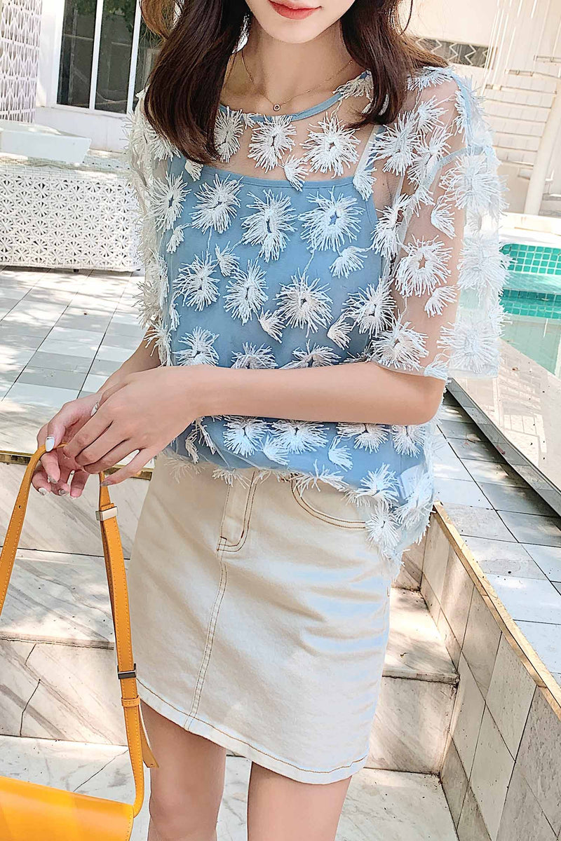 Floral Print Mesh See-Through Top - 7GEGE