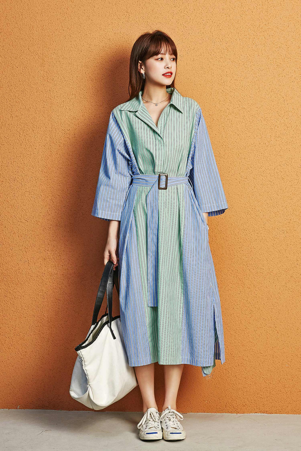 Striped Colors Green and Blue Binding Detail Shirt Dress - 7GEGE