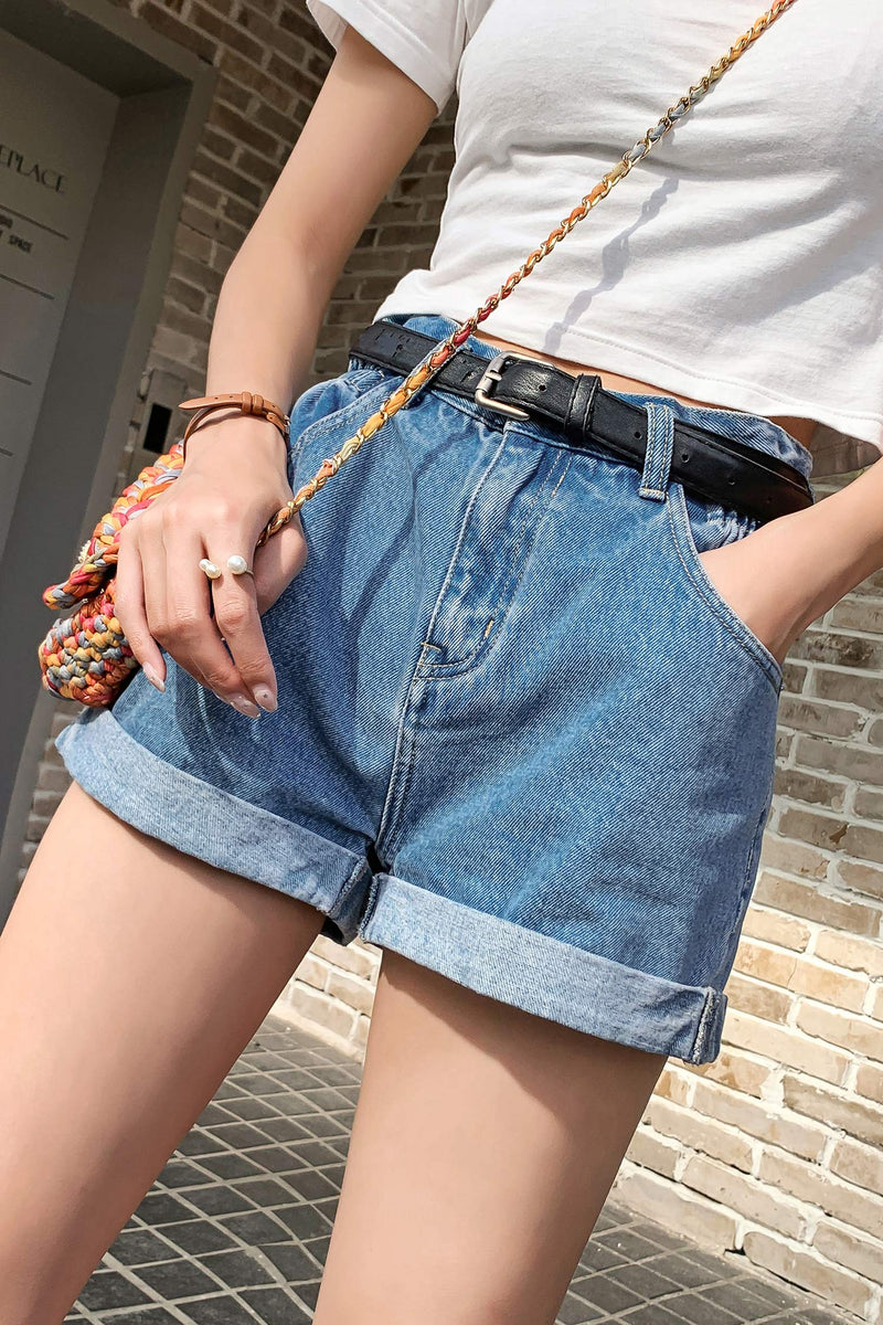 High waist elastic waist loose wide leg short jeans pant