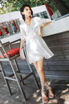 V-Nick Chiffon Ruffle Hem Milk White Short Dress - 7GEGE