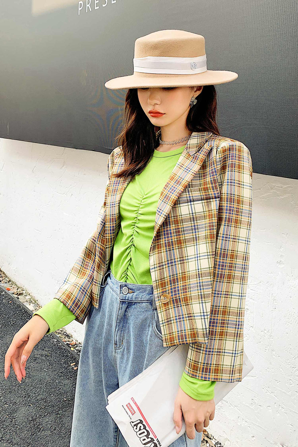 Short style Plaid Suit Top - 7GEGE