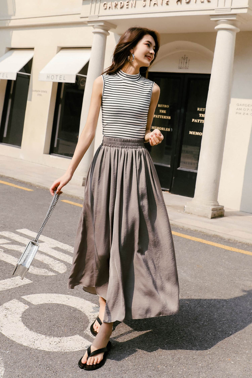 High Waist Draped Wide Leg Pant - 7GEGE
