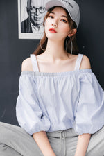 Chic Puff Sleeve Loose Off Shoulder Top