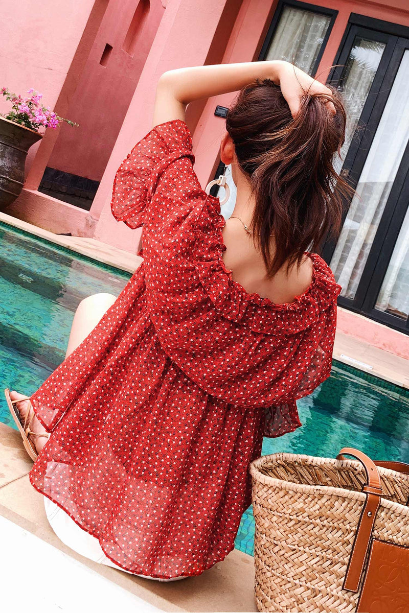 Off The Shoulder Chiffon shirt Floral Print - 7GEGE
