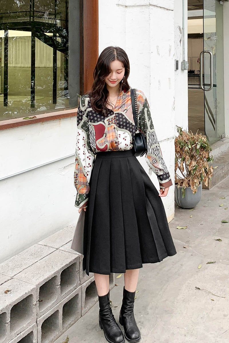 Invisible Zipper Pleated Skirt - 7GEGE