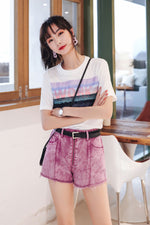Purple Jean Short Pant - 7GEGE