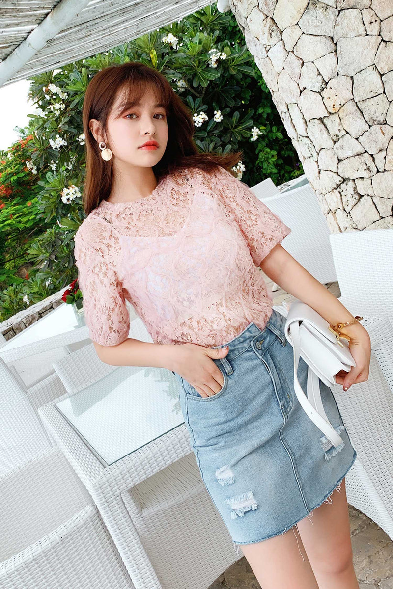 Mid Sleeve Lace shirt Tide - 7GEGE