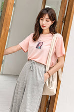Pink Graphic Cropped Tee - 7GEGE