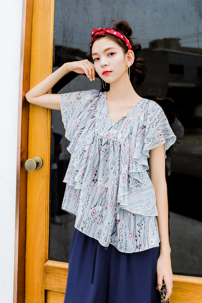 V-neck Non-Sleeves Floral Wweet Lace Chiffon Shirt