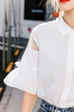 Ruffle Sleeves Cutout shirt