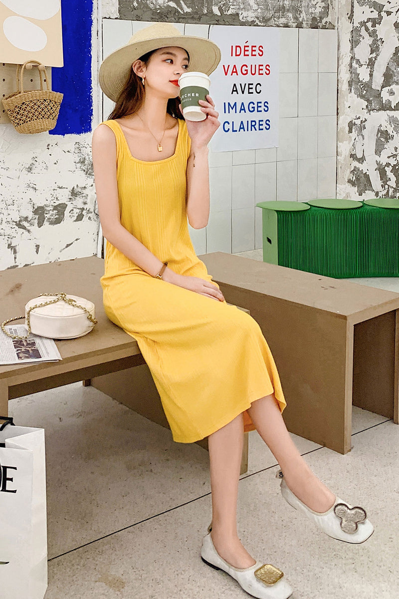 Loose Waist  Leisure Vacation Strap Dress - 7GEGE