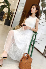 White Black Mesh Strap Net Yarn Fairy Dress - 7GEGE