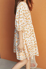 Orange Print Dress - 7GEGE