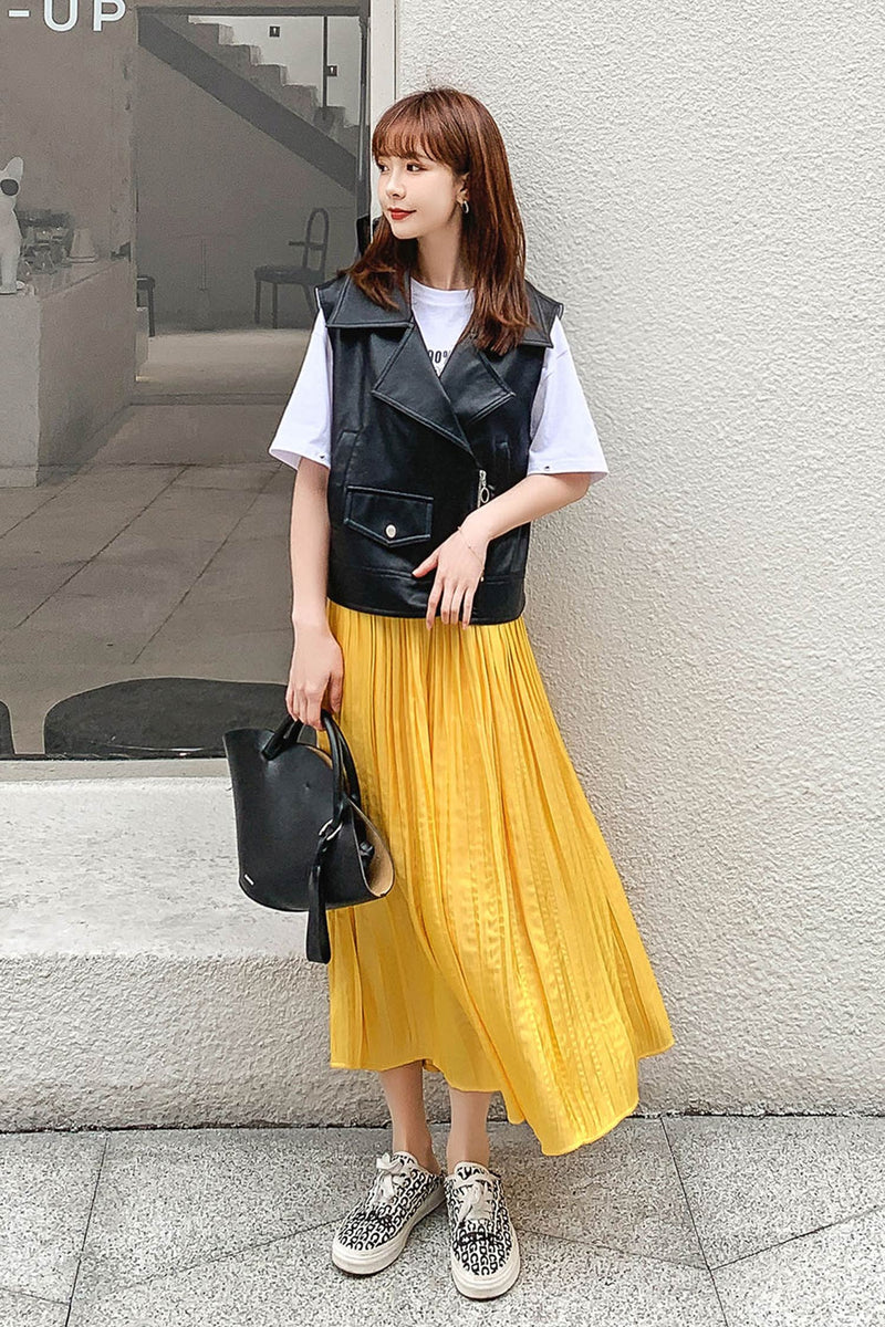 Elastic Waist Pleated Skirt - 7GEGE