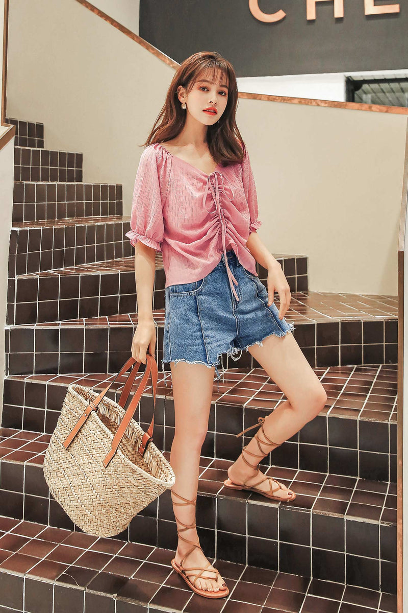 V-neck Chiffon Top Drawstring Shirt - 7GEGE